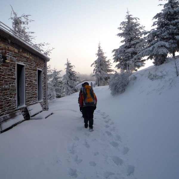 Leaving Albergue de O Cebreiro in winter...