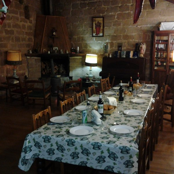 Granon Christmas Eve Dinner Table Set for a Feast for 10 Pilgrims and 1 Hospitalero