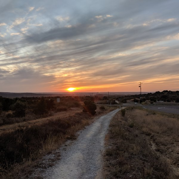 Sunrise on the Camino Outside Santa Catalina de Somoza.jpg