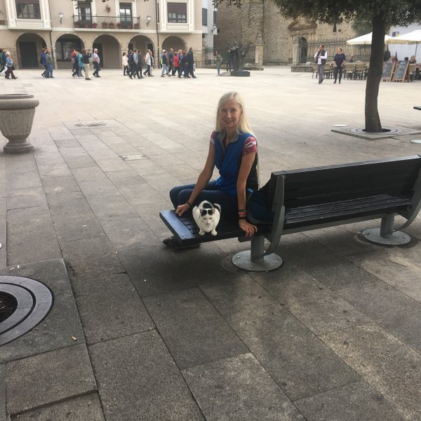 My Wife and Plaza Kitty in Ponferrada Near Old Town Statue