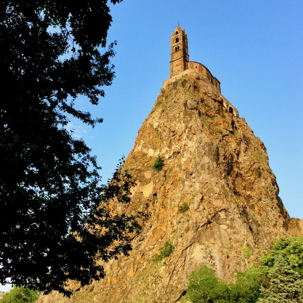 Chapel of St Michael in LePuy, perched on top of the neck of an extinct vocano.jpeg