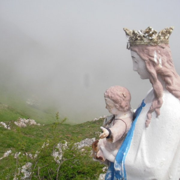 Virgin Mary in the fog