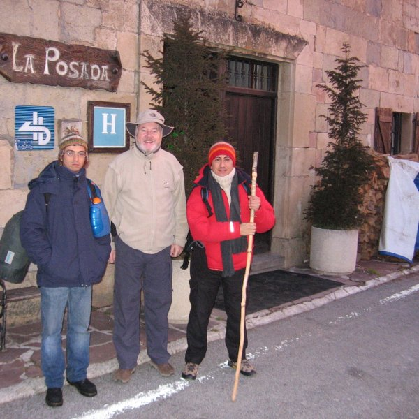 Portugues, Irish & Peruvian Pilgrims leaving Roncesvalles January 2005