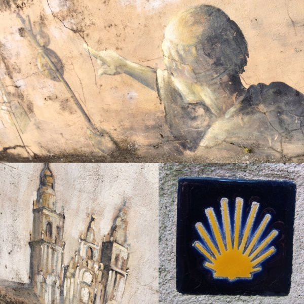 Murals in Sarria and a shell plaque.