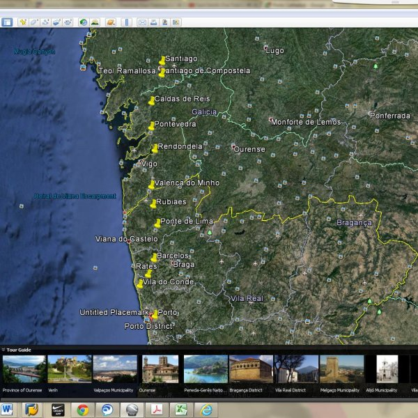Porto to Santiago map on Google Earth Pro