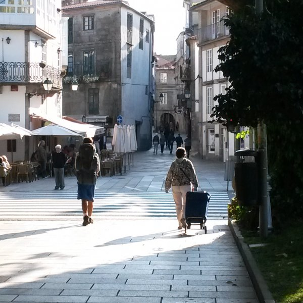 On the Portugues walking into town
