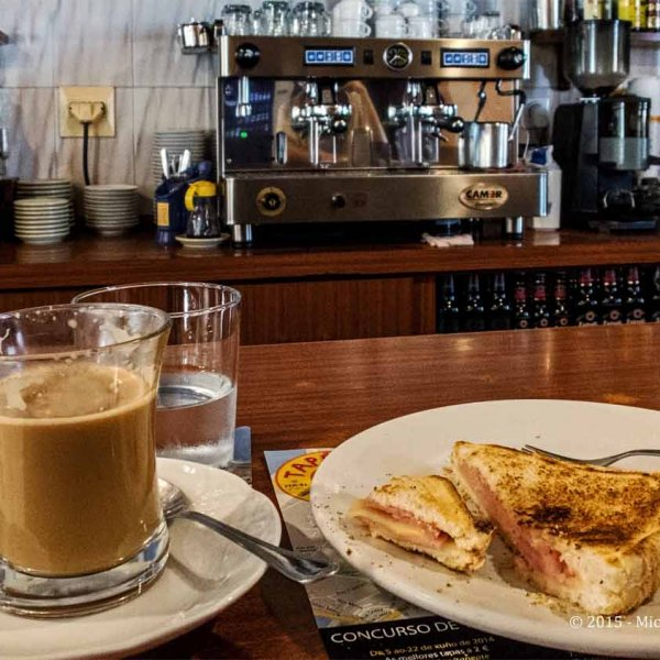 Camino Ingles - Neda - Pension Maragota - Cafe con Leche + Toasted Cheese/Ham