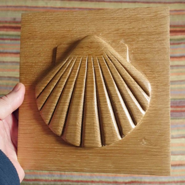 4 months since the walk. Carved myself a shell  from English oak for my wall. I want to go back!