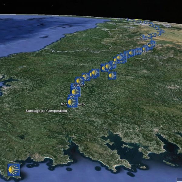 Camino de Santiago; animated Google Earth map of the Camino Frances, The French Way - YouTube