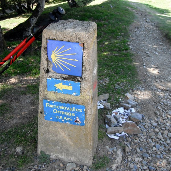 Lepoeder. Stone marker and path to Ibañeta
