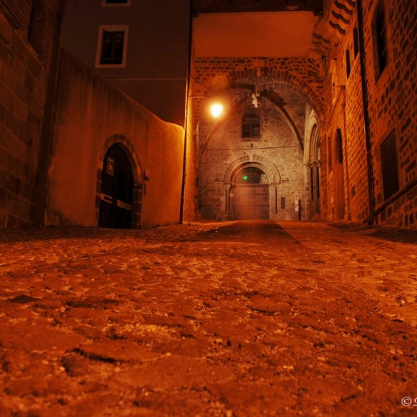 Back street near the Cathedral, Le Puy en Velay at night, Beautiful place.