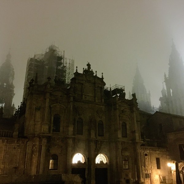 Santiago Cathedral in winter fog
