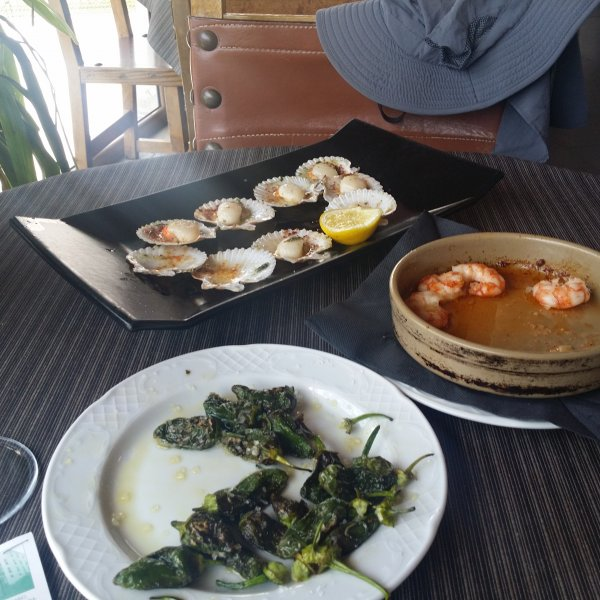 Padron Peppers, Garlic Prawns, Scallops ... YUM!