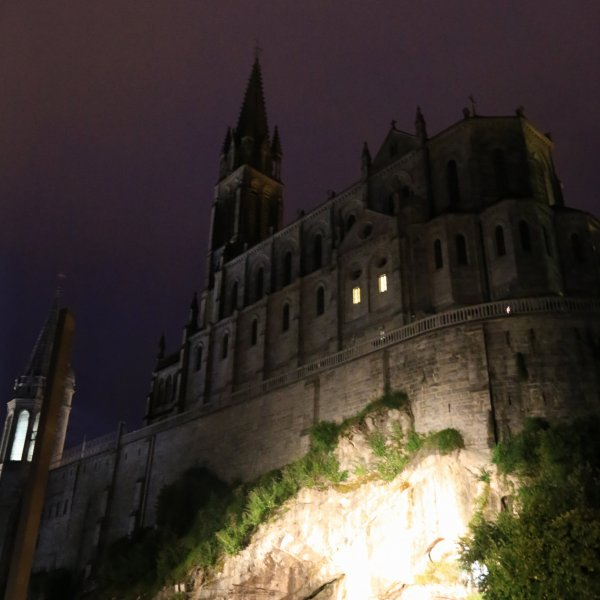 The Lourdes Basilica at night