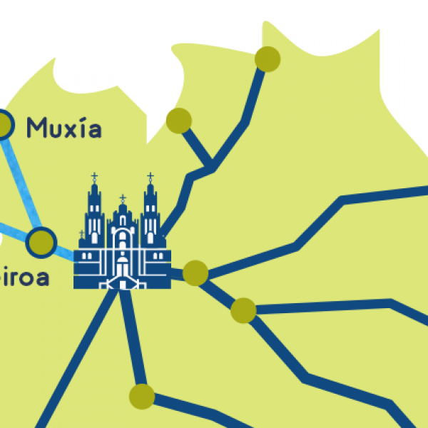 Camino finisterre - muxia map stages