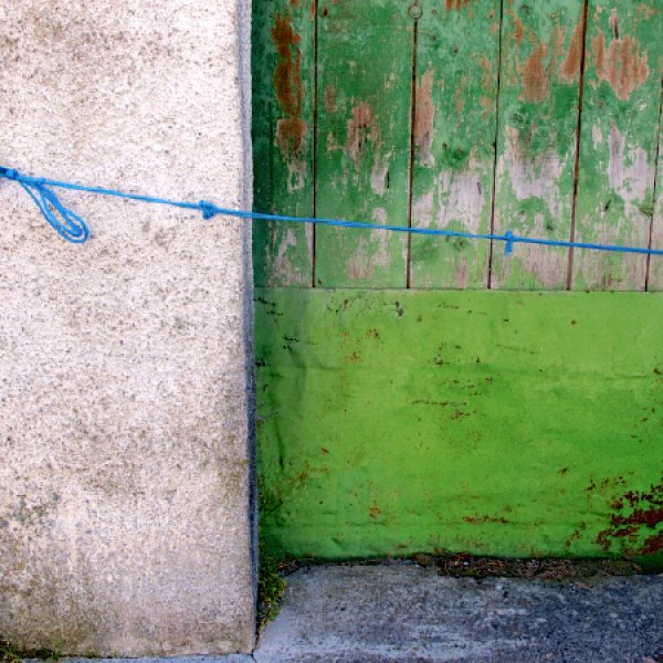 Green door & blue string